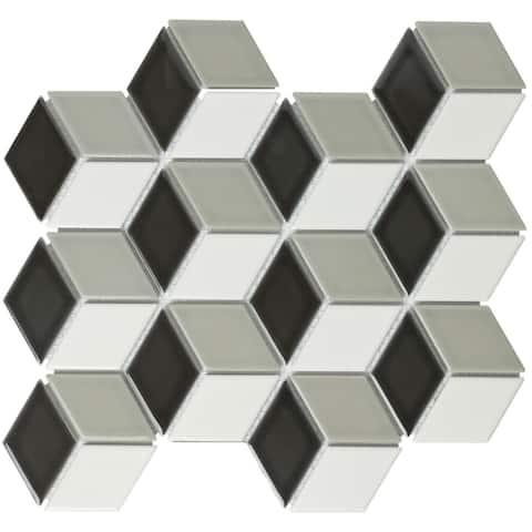 Glazed Porcelain Mosaic Tile Sheet Paris Rhombus Glossy Black/White/Gray