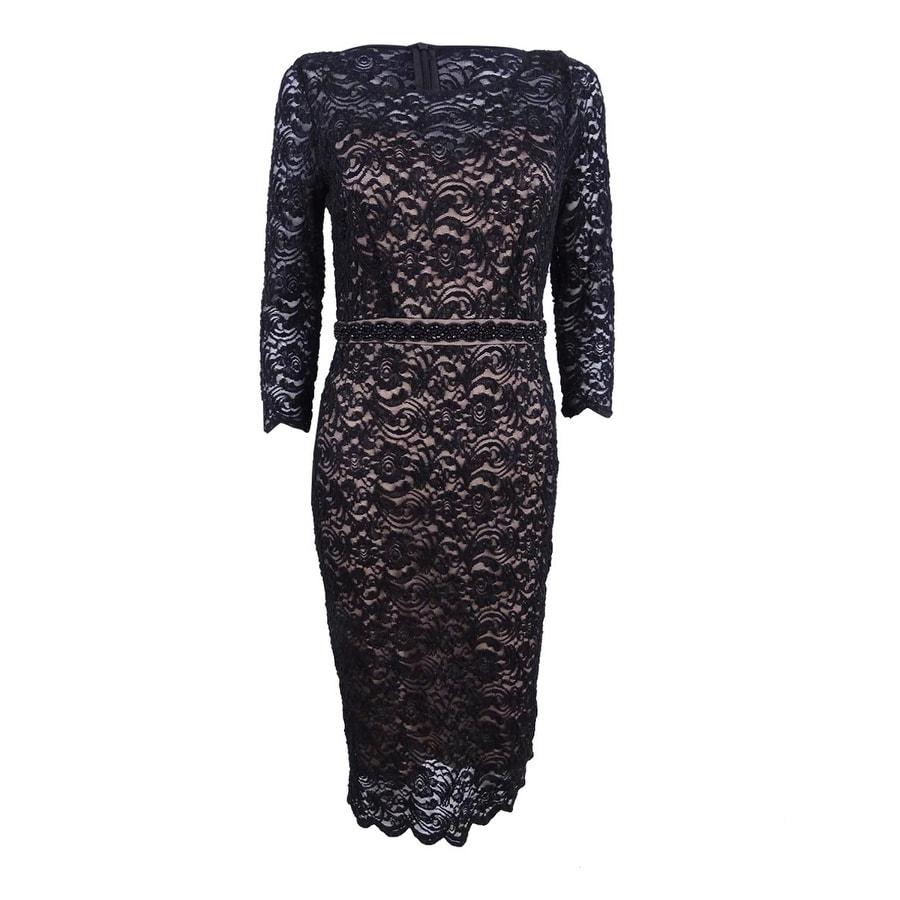 Alex Evenings Womens Beaded Lace Sheath Dress