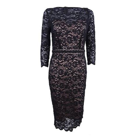 Alex Evenings Women's Plus Beaded Lace Sheath Dress