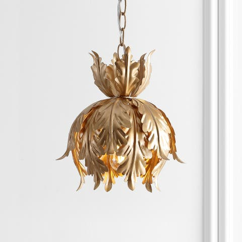 "Anne 12"" Adjustable Metal LED Pendant, Gold by JONATHAN Y"
