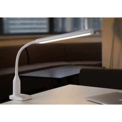 LED Task Lighting, Clamp Desk Lamp, Fully Dimmable, USB Charger, White - 1 Pack