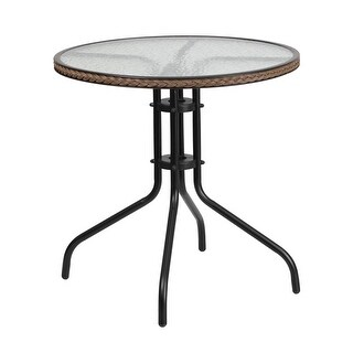 Skovde Round 28'' Tempered Glass Metal Table Dark Brown Rattan Edging for Patio/Bar