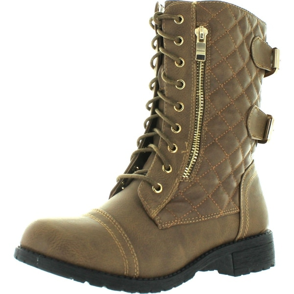 Top Moda Women's Jean-18 Quilted Motorcycle Combat Boots