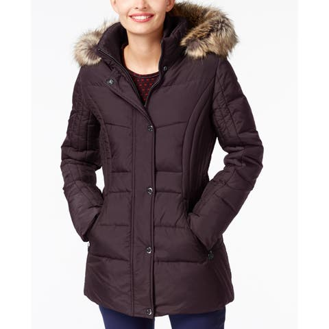 Anne Klein Red Women's XL Faux-Fur-Trim Contrast-Quilted Down Coat