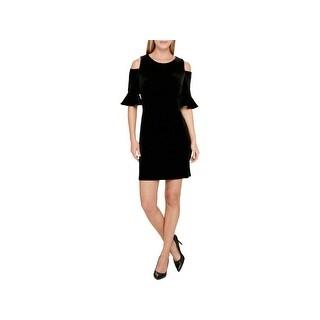 Tommy Hilfiger Womens Cocktail Dress Velvet Cold Shoulder