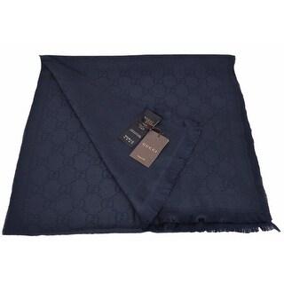 "Gucci Men's 133483 Dark Blue Wool GG Guccissima Scarf Muffler - 70"" x 18"""