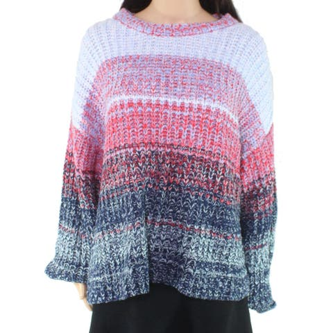 525 America Women's Sweater Blue Size Small S Pullover Cable Knit Ombre