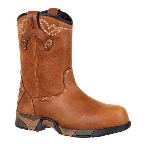 "Rocky Women's 9"" Aztec CT WP Work Pull-On Boot RKK0224 Brown Full Grain Leather"