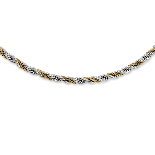 Stainless Steel Gold-plated Box & Rope Twisted 18in Necklace (4 mm) - 18 in