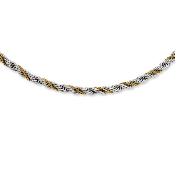 Stainless Steel Gold-plated Box & Rope Twisted 20in Necklace (4 mm) - 20 in