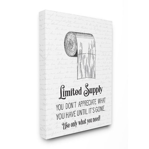 Stupell Industries Funny Limited Supply Bathroom Canvas Wall Art
