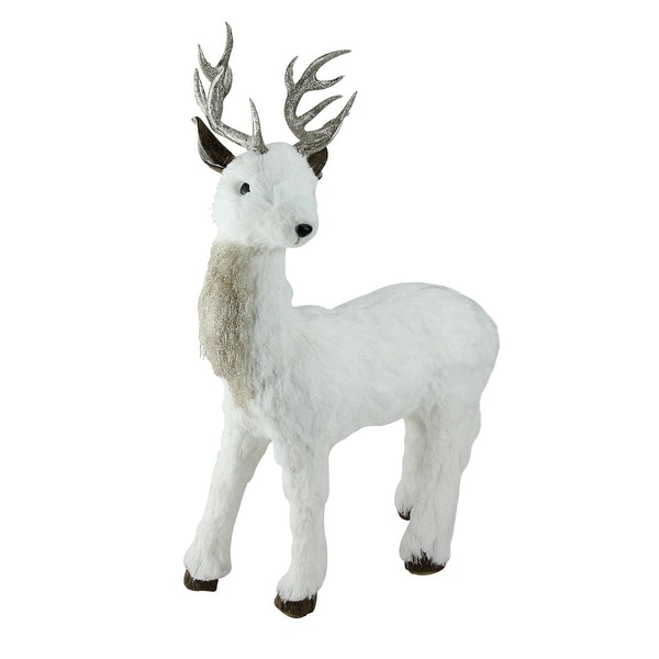 "20"" White and Gold Standing Deer Table Top Decoration"