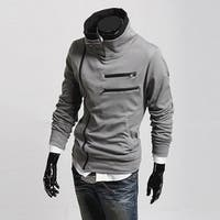 Solid Color Fashion Men's Slim Fit Leisure Top Designed Hooded Jackets Coats