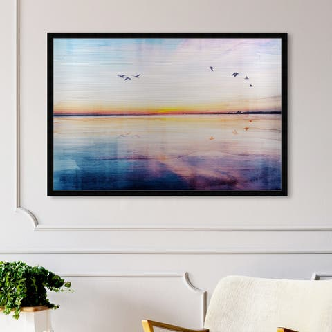 Oliver Gal 'The Horizon' Nature and Landscape Framed Wall Art Prints Sunrise and Sunsets - Purple, Blue