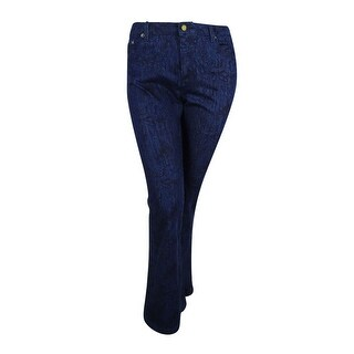 MICHAEL Michael Kors Women's Selma Printed Indigo Wide Leg Jeans (Indigo, 12) - 12