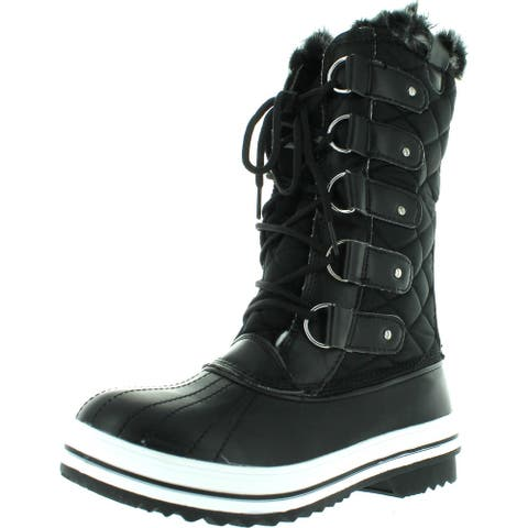 Refresh Wind-02 Women's Lace Up Waterproof Quilted Mid Calf Weather Snow Boots