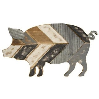 Wood and Galvanized Metal Pig Wall Art
