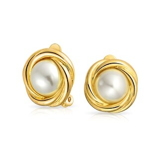 Bling Jewelry Imitation Pearl Bridal Clip On Earrings Gold Plated Alloy