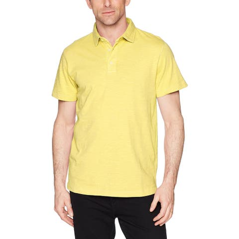 French Connection Mens Shirt Yellow Size Medium M Solid Polo Burnout