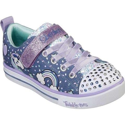 Skechers Girls' Twinkle Toes Shuffles Sparkle Lite Sneaker Denim/Lavender