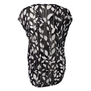 Anne Cole Women's Plus Size Vines Mesh Cover-Up Tunic - BLACK/WHITE
