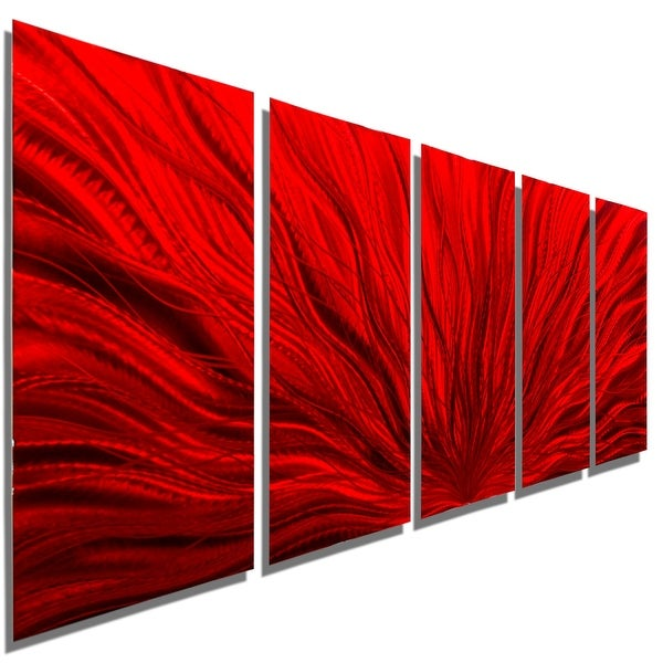 Statements2000 Red 5 Panel Contemporary Metal Wall Art by Jon Allen - Red Plumage
