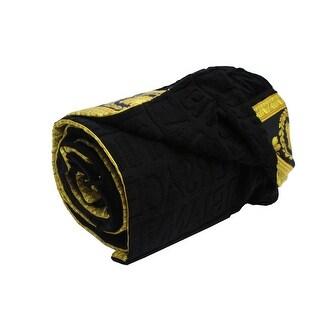 Versace Saint Tropez Medusa Large Beach Towel Throw Black