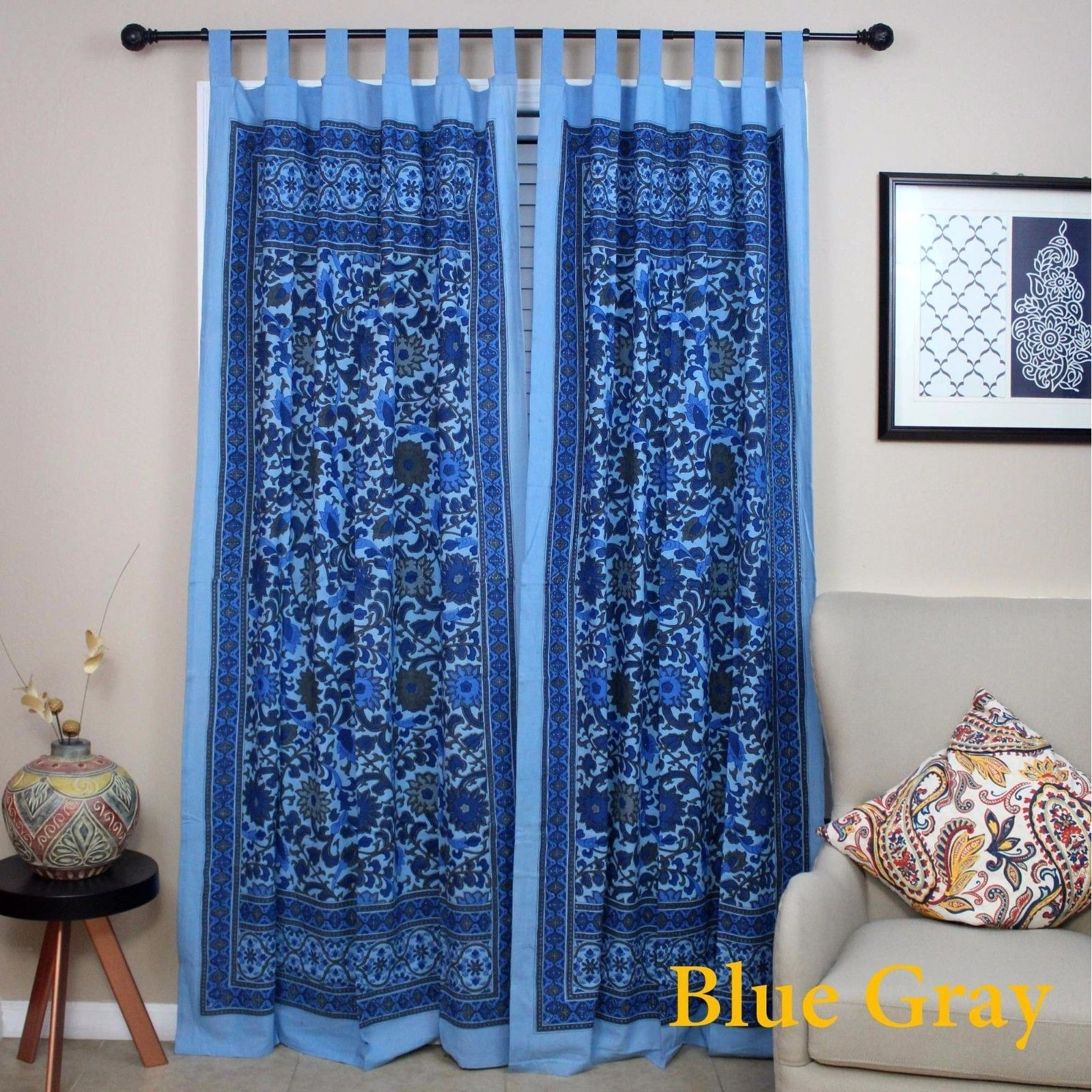 Out Of Stock Gold Black Handmade 100% Cotton Sunflower Floral Tab Top  Curtain Drape Door Panel Navy Blue Gray Yellow