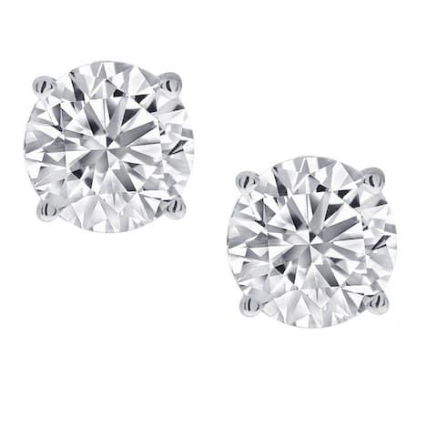 Amanda Rose 1/2ct tw Round Diamond Stud Earrings for Women set in 14K White Gold