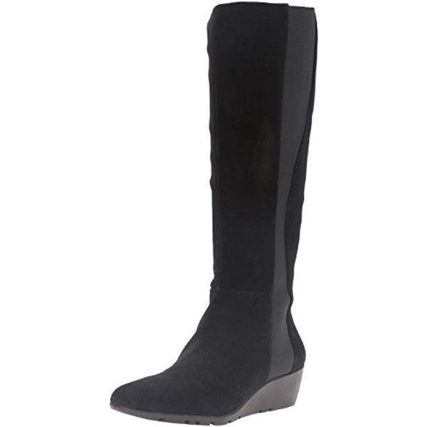 0effc913d64a Bandolino Womens Aamori Wedge Boots Suede Knee-High Black 7 Medium (B
