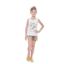 Girl Outfit Graphic Tank Top and Cheetah Print Shorts Set Pulla Bulla 2-10 Years