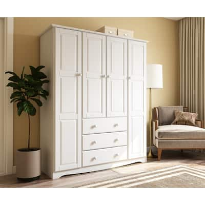 """Palace Imports Family 4-door Solid Wood Wardrobe (No Shelves Included) - 60.25""""W x 72""""H x 20.75""""D"""