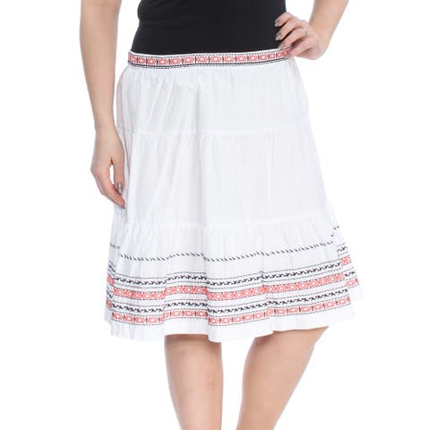 TOMMY HILFIGER Womens Ivory Embroidered Below The Knee Skirt Size 14