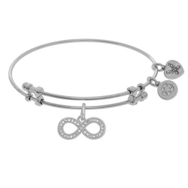 White Brass Bangle Bracelet with Cubic Zirconia Infinity and Heart Charms