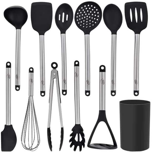 Kaluns 12 Piece Stainless Steel And Silicone Kitchen Utensils Set Black Block Holder Non Stick And Heat Resistant On Sale Overstock 32064631
