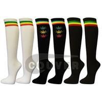 Rasta Stipes Ladies Colorful Variety Design Assorted Knee High Socks(6 pairs)