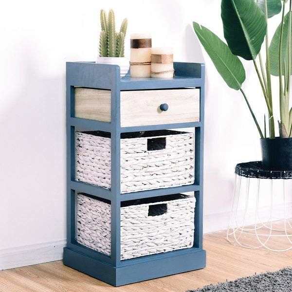 Gymax Bedside Table Nightstand Chest Cabinet Storage Organizer w/1 Drawer and 2 Basket. Opens flyout.