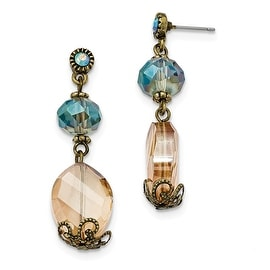 Brass Glass Bead Dangle Shepherds Hook Earrings