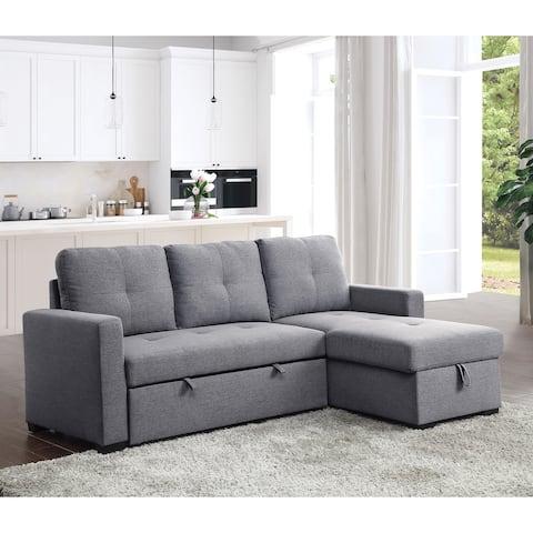 Furniture of America Vintana Transitional Grey Sleeper Sectional