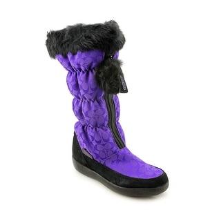 Coach Theona Women Round Toe Synthetic Purple Mid Calf Boot