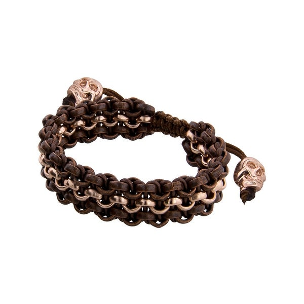 Links Women's Brown-Three Row Bracelet in Copper Oxide & 14K Rose Gold-Plated Brass - Two-tone