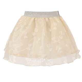 Richie House Little Girls Gold Bow Print Silver Accent Tulle Skirt 2-6