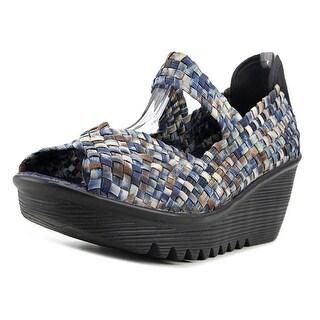 Bernie Mev. Hallie Women  Open Toe Canvas Blue Wedge Sandal