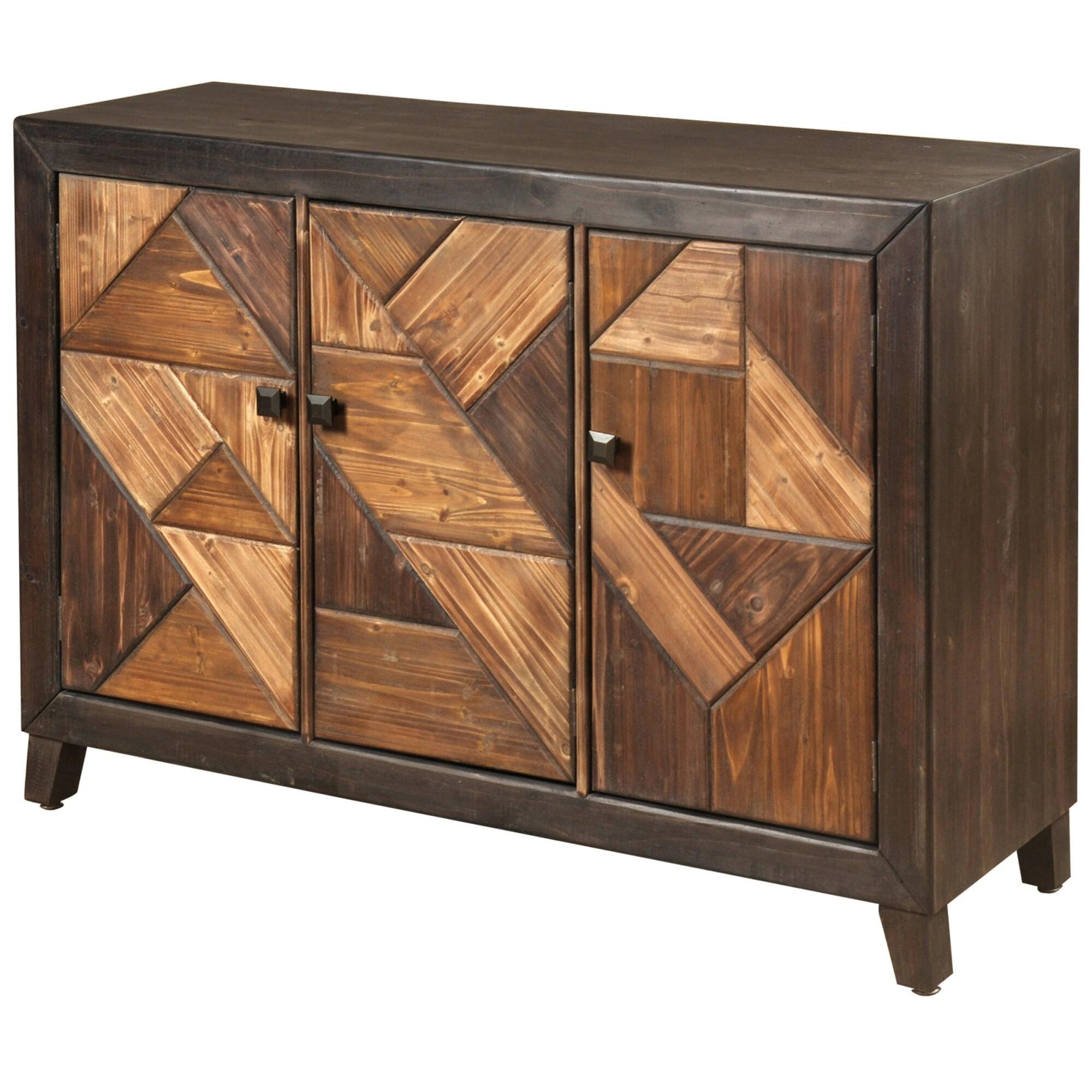 StyleCraft SC-SF24777  47 3/8 Wide Wood Credenza with Displaced Chevron Design - Espresso