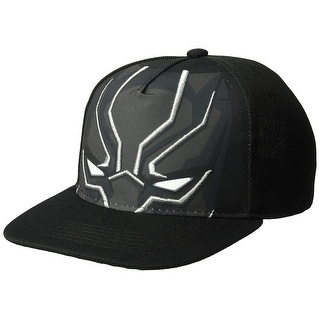 Marvel Men S Black Panther Face Baseball Cap Metallic 3D Embroidery One Size