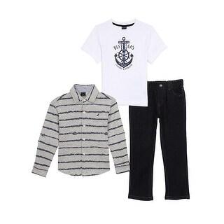 Nautica Little Boys 2T-4T 3-Piece Woven Pant Set - Light grey