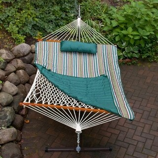 """76"""" x 52"""" Cotton Rope Single 2-Point Hammock Stand/Teal Pad and Pillow Combination - Green"""