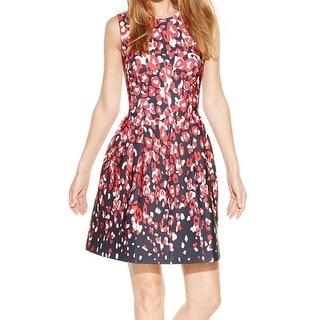 Calvin Klein NEW Red Black Printed Women's Size 4 Sheath Scuba Dress