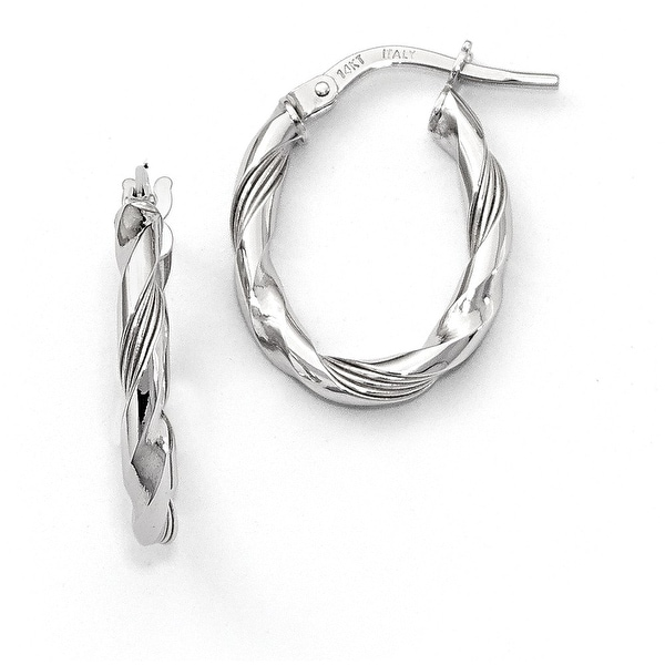 Italian 14k White Gold Polished and Textured Hoop Earrings