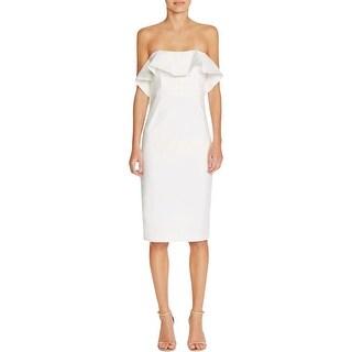 Bardot Womens Cocktail Dress Strapless Ruffled